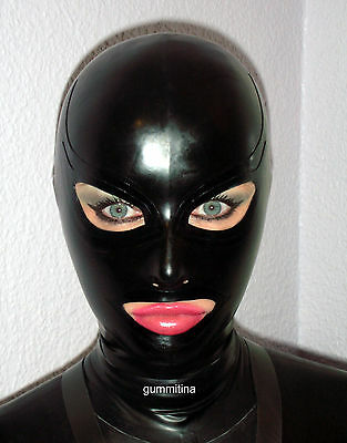 Latexmaske Latexmasken rubbermask Latex Masken anatomisch schwarz mit Trims