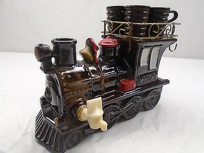 Vintage Ceramic Train Whisky Decanter with 5 Plastic Shot Glasses