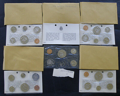 C-USA FIVE 1970 Canada Uncirculated Prooflike Coin Mint Sets
