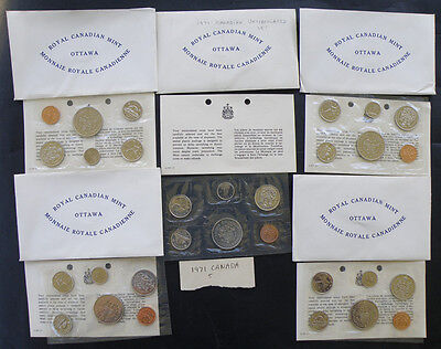 C-USA FIVE 1971 Canada Uncirculated Prooflike Coin Mint Sets