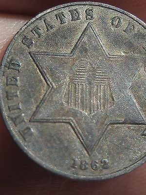 1862 Three 3 Cent Silver Coin- VF Details- Rare Key Date