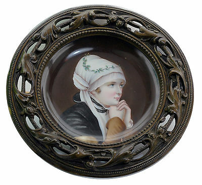 Ca. mid 1800s Royal Vienna Exquisite Hand Painted Portrait Plate in Bronze Frame