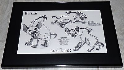 Disney The Lion King Banzai Hyena Framed Original Production Model Sheet 1993