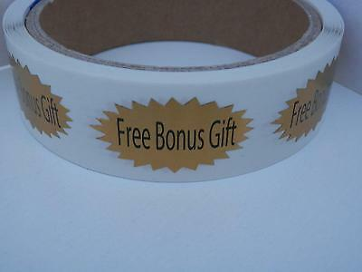 FREE BONUS GIFT .75x1.5 oval starburst gold foil  Stickers Labels 250/rl