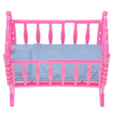 Pink Baby Rocking Bed Bedroom Furniture Accessory for Barbie Kelly Dolls