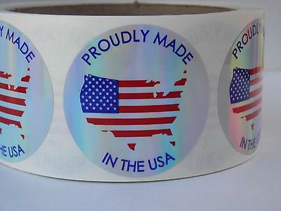 PROUDLY MADE in the USA Flag 1.75 Sticker Label holographic prism circle 500/rl