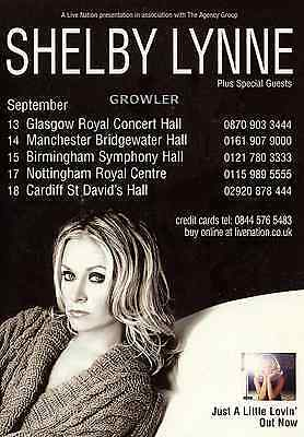 Shelby Lynne - Concert 2008 Tour Flyer - Rare Genuine Live Country Music Promo