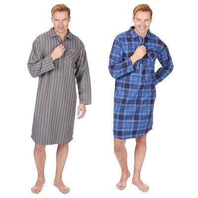 Mens Cargo Bay Check or Stripe Print 100% Cotton Thermal Flannel Nightshirt