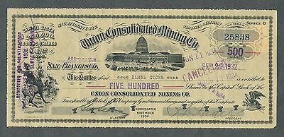 1932 Union Consolidated Mining Company Stock Certificate