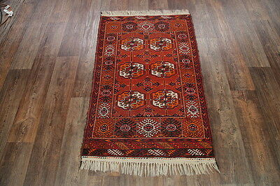 """Geometric Hand Knotted 3x5 Balouch Afghan Oriental Rug Carpet 4' 6"""" x 2' 11"""""""