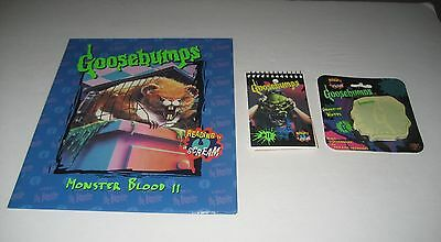 1995 Goosebumps  (Lot of 3) 1 School Folder and 2 Note Pades Pads Brand New (C)