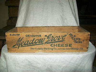 Vintage Wood Cheese Box Meadow Grove Cheese Chicago Ill. 5 Pounds
