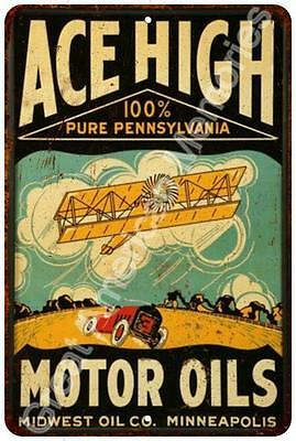 ACE High Motor Oils Vintage Look Reproduction 8x12 Metal Sign 8124573