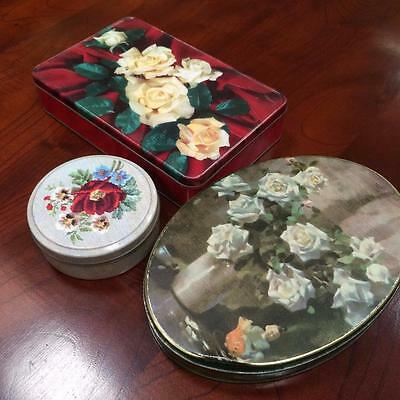 3 X Vintage Floral Roses Tins Collectable Biscuit Lolly