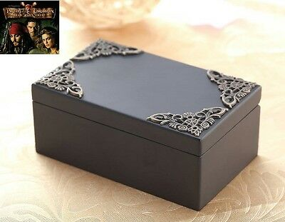 Black Vintage Wooden Rectangle [Pirates of The Caribbean Davy Jones] Music Box
