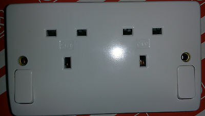Pack of 10 - MK  Logic 2746 13 amp 2G DP double Switch Sockets - WHITE - NEW -