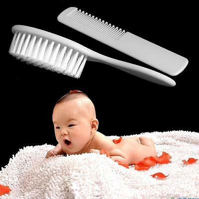 Baby Hair Brush & Comb Set in White Soft Gentle For Babies Toddlers Essentials