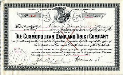 1923 Cosmopolitan Bank and Trust Company Stock Certificate