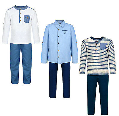 Boys Shirt Trouser 2Pc Outfit Set 3M-4Y Smart Formal Party Chinos & Top Bnwt