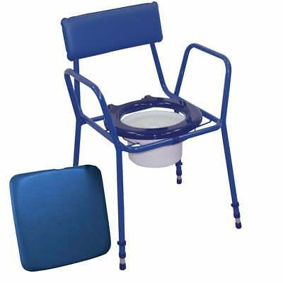 Aidapt Essex Height Adjustable Padded Commode Chair Blue, Grey and Brown Colours