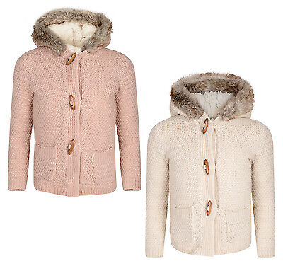 Girls Cardigan Sherpa Lined Hooded Chunky Knitwear 1-8 Years Ex Store New