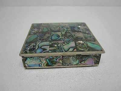"Vtg Mexico Silver Inlaid Abalone 3 7/8"" Square Wood Lined Hinged Lid Trinket Box"