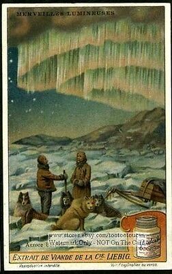 The Aurora Borealis Stars Astronomy  c1915 Trade Card