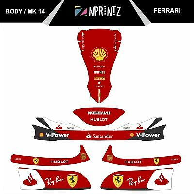 Mk 14 Ferrari Style Full Kart Sticker Kit - Karting - Otk - Evk-Cadet-Rookie