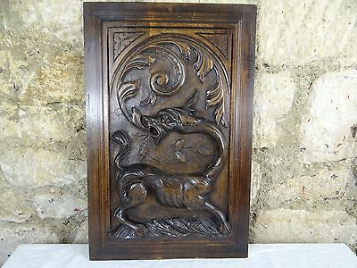 Antique French Deep Gothic Carved Wood Architectural Panel Dragon Griffin 19th