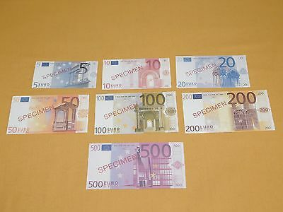 Europe 7 Specimen Euro Currency Notes 5 10 20 50 100 200 500 Nice New Condition