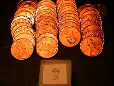 Full 50pc Roll 1994 D Ch/Gem Lincoln Cents  BU Cherry RED Coins!!!!
