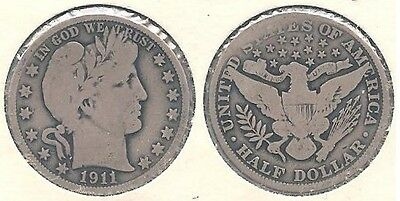 1911 Silver Barber Half Dollar (50¢ Coin) in Very Good Condition ~