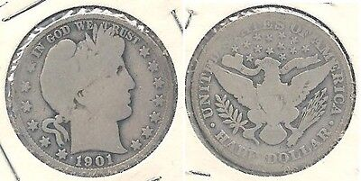1901 Silver Barber Half Dollar in Good (Obverse) & AG (Reverse) Condition ~
