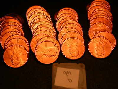 Full 50pc Roll 1999 D Ch/Gem Lincoln Cents  BU Cherry RED Coins!!!!