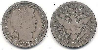 1899 Silver Barber Half Dollar (50-cent Coin) in Very Good Condition ~