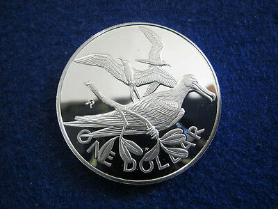1975 British Virgin Islands Silver Proof $1 - Frigate Birds - Free U S Shipping