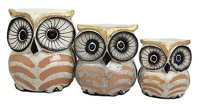 Balinese Wood Handicrafts Golden Night Forest Owl Family Set of 3 Figurines