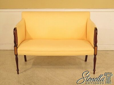 41807: HANCOCK & MOORE Inlaid Mahogany Yellow Loveseat
