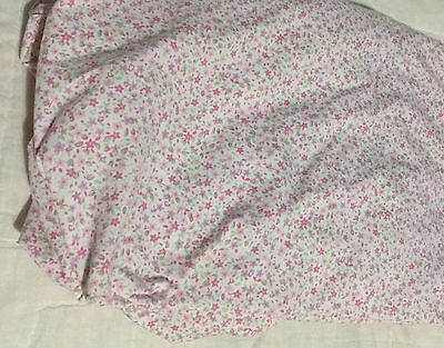 Nautica Kids Crib Toddler Fitted Sheet Soft Cotton Pink Purple Flowers Euc