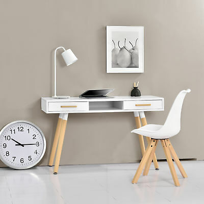 [en.casa] Retro Desk white 120cm Computer Table Office table Console