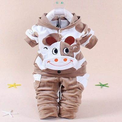 2Pc Baby Boys Clothes Warm Cow Outfit Kids Boys Sports Coat + Pants Outfits Sets