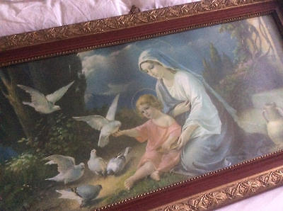 ~*Huge Vintage French Religious Madonna & Child Ornate Framed Print*~