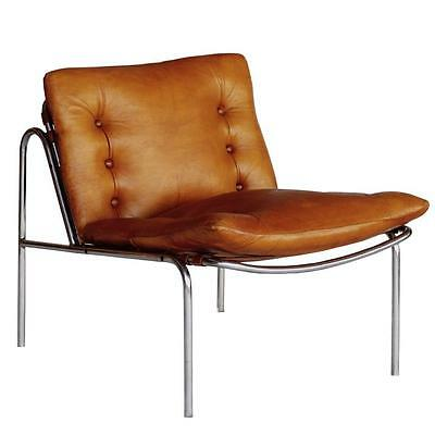 'Renzo' Metal Framed Leather Lounge Chair in Tan - RRP £995 - Retro Danish 1960s