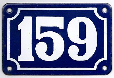 Old blue French house number 159 door gate plate plaque enamel metal sign steel