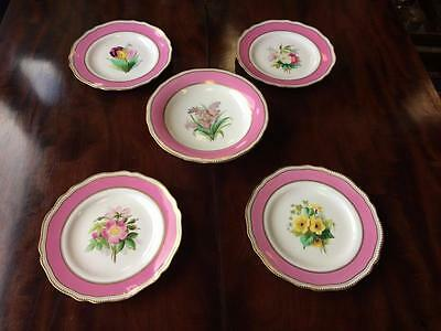 Victorian 1852 Hand Painted W T Copeland Tazza / Comport & 4 Plates Serving Set