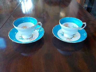 Vintage Rosina  2 Tea Cups &  2 Saucers Blue Band Floral Design Bone China