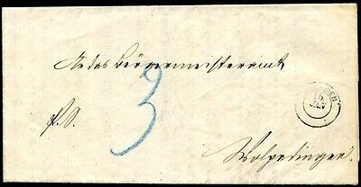 BADEN PORTO 1862 2y auf BRIEF ALTES ATTEST (S7947