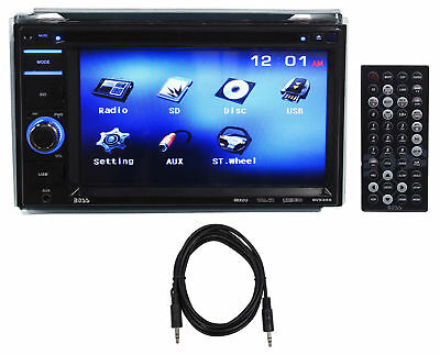 """Boss BV9356 6.2"""" 2-Din Car Monitor DVD/USB/SD Player Radio Receiver + Aux Cable"""