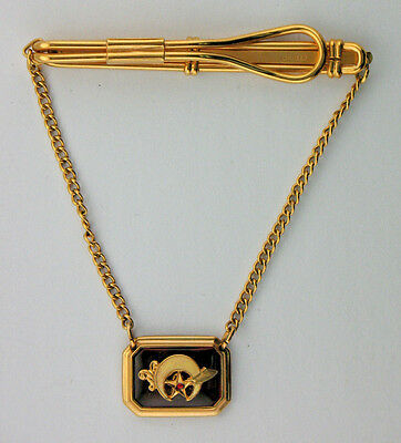 VINTAGE GOLD PLATED MASONIC /SHRINE Tie Bar-Clasp-Clip Insignia on Chain