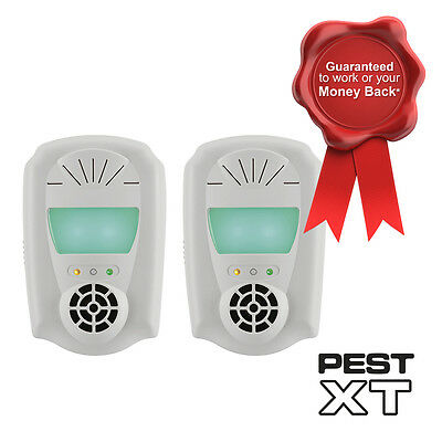Pest XT 2 Pack Ultrasonic 4-In-1 Plug In Pest Mouse Rat Mice Repeller Repellent